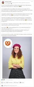 Post LinkedIn et création de contenus engageants - exemple du portfolio personnel